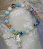 New Small Girls First Communion Chalice Cross Charm Millefiore Stretch Bracelet
