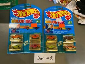 Lot of 2 HOT WHEELS Micro Color Racers 3229 Classic 4 Pack Cars Mattel 1988