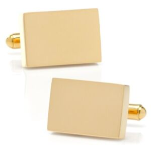 Ox and Bull Trading Co. Stainless Steel Gold Plated Block Engravable Cufflinks