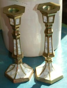 "Vintage Candle Holder Brass Mother of Pearl Inlay Hexagonal  3""Wide 8""High PAIR"