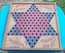 Vintage Chinese Checkers Board Hop Ching USA NY J Pressman Nice Patina Display