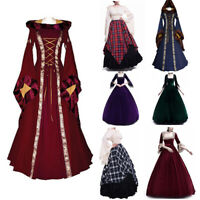 Womens Costume Wench Victorian Long Sleeve Dress Witch Medieval Cosplay Dresses