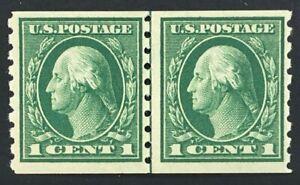 US stamps SC# 412 1 cent green Washington coil L/Pr, perf 8 1/2 vertical MNH