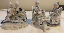 Italian Capodimonte Dresden Lace Victorian Couple Porcelain Man & Woman Figurine