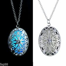 New Glow in the Dark Stainless Steel Chain Oval Shape Locket Necklace Pendant