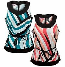 NEW Epilogue Womens Abstract Stripe Smart Sleeveless Linen Blouse Top Coral Teal