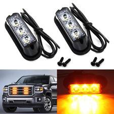 2x 3 LED Amber Strobe Flashing Lights Recovery Truck Breakdown Lorry Van Lamps