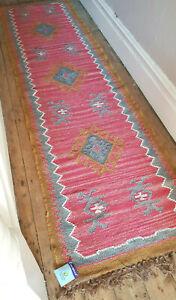 100% Wool Kilim rug 60x245cm Quality Hand Made runner Ochre, Rose with Grey