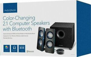 Insignia Color-Changing 2.1 Computer Speakers w Bluetooth Black NS-5004BT.
