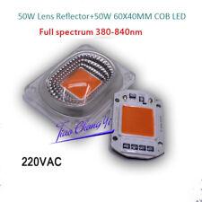 1set 50W 220V 60X40mm Full spectrum Cob Led Grow light Lamp+50W Lens Reflector