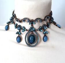 Butler and Wilson Blue Crystal Small Choker Style Gala Necklace NEW RRP £128