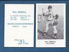 1955 Oakland Oaks PCL commemorative card: BILL SERENA (1975 Doug McWilliams)