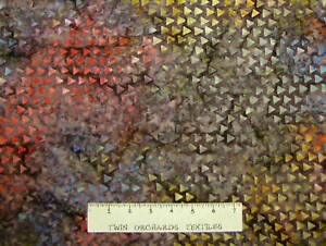 BALI BATIK Fabric Rainbow Triangle Brown Kaufman YARD