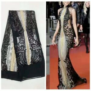 2019 Embroidery Sequined Mesh Lace Fabric Prom Dress gown 51'' wide 1 Yard