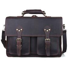 "Mens Leather Large Tote Cross body Travel Backpack Messenger Bag 16"" Laptop Case"