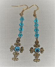 Ice Blue Double Sided Rhinestone Cross & Crystals French Wire Dangle Earrings