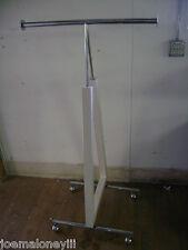 Retail White Triangle T-Rack Two Way Garment Rack W/ Wheels
