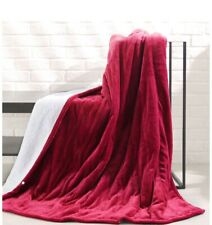 Maxkare Heated Electric Throw Blanket Burgundy Red Color