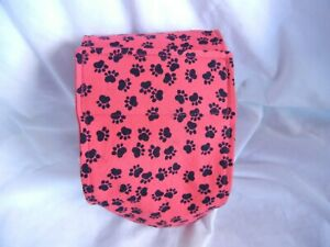 """Dog Puppy Belly Band Wrap Contoured Diaper Male Puppy Flannel lined 20"""" RED PAWS"""