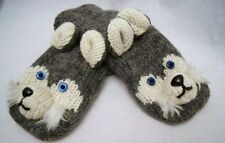 SIBERIAN HUSKY MITTENS gloves knit dog ADULT puppet huskies costume Hat separate