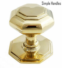 Polished Brass Octagonal Centre Pull Door Knob / Handle