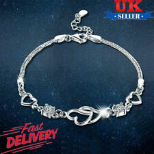 UK 925 Silver Open Heart Bracelet Womens Ladies Charm Jewellery Valentine's Gift