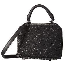 Rebecca Minkoff Womens Black Glitter Leather Box Crossbody Bag NWT