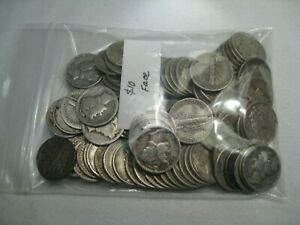 2 Full ROLLS (100 coins) Silver MERCURY Dimes. 5 lot Available. FREE US Shipping