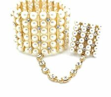 New Crystal Pearl Cluster Bracelet Women's Ring Attached Gold Plated Slave