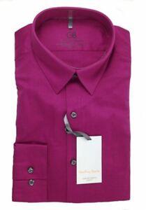 Geoffrey Beene Stretch Solid Spread Collar Slim Fit Dress Shirt 17 34-35