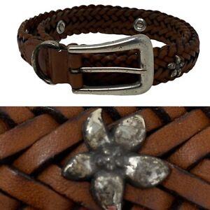 FOSSIL Belt Braided Woven Leather Boho Silver Tone Flower Detail Sz M