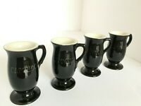 Tiny Vtg Cappuccino Coffee Ceramic Black and White Footed Pedestal Mugs Set of 4
