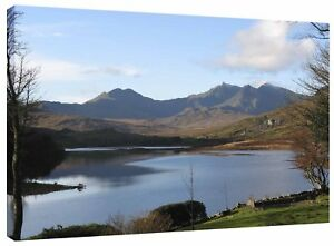 Mount Snowdon from Plas-y-Brenin Lake Wales Canvas Wall Art Picture Print