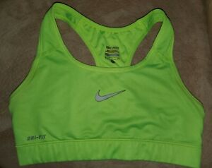 Nike Pro Dri-Fit Racerback Compression Sports Bra neon green Women Sz S