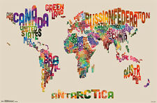 Super-Cool WORD CLOUD MAP OF THE WORLD Wall Poster by Michael Tompsett