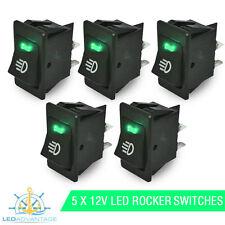 5 X 12V BOAT/CARAVAN/CAR/DASH GREEN LED LIGHT ILLUMINATED ON/OFF ROCKER SWITCH