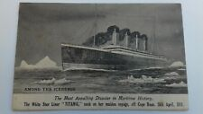 More details for vintage postcard among the icebergs white star liner titanic 1912 valentines
