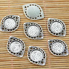 20pcs tibetan silver plated round cabochon cameo connector EF1519