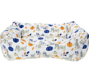 NEW Small Dog Bed White Blue Orange Pumpkin Basket Padded Cotton Hound Home Pet