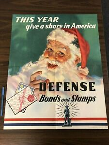 Santa Claus This Year Give A Share Defense Bonds Stamps WW2 ORIGINAL Poster JKT1