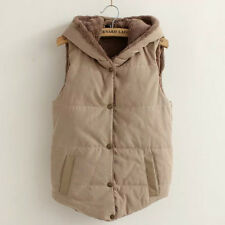 Women's Sleeveless Hooded Gilet Fleece Waistcoat Winter Hoodies Vest Coat Jacket