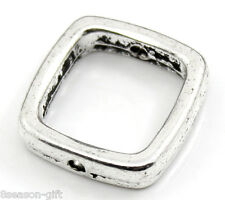 """30PCs Silver Tone Square Spacer Beads Frame 14x14mm(4/8""""x4/8""""), Fits 10mm Beads"""