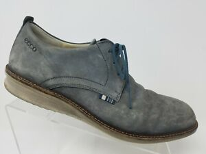Ecco Mens Casual Oxford Size 8 8.5 42 Grey Suede Extra Width Lace Up Shoes