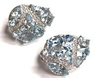 Sterling Silver 925 CZ Pave Oval Blue Topaz Cluster Elegant Pear Shape Earrings