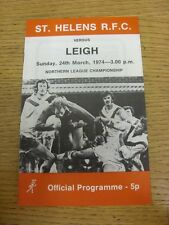 24/03/1974 programma Rugby League: ST. Helens V Leigh. l'oggetto sembra essere in go