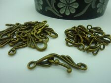 Antique Bronze Metal Hook & Eye Toggle Clasps 16 sets Jewellery Making