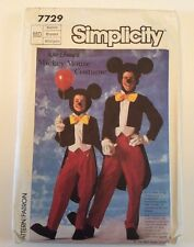 Mickey Mouse Costume Simplicity Sewing Pattern Adult Medium FF 7729 Halloween