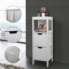 Bathroom Floor Cabinet Wooden Free Standing Storage Organizer w/ 2 Drawers White