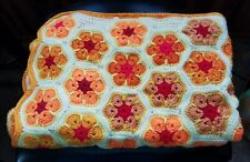 "Handmade Crochet Hexagon Afghan/throw, yellow/orange/red, 51"" x 35"""