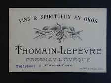 Ancienne carte de visite vin THOMAIN LEFEVRE Fresnay l'Evêque old visit card